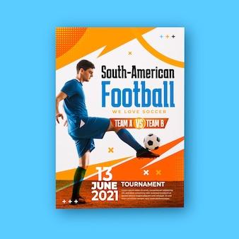 Szablon plakatu pionowego realistycznego futbolu południowoamerykańskiego