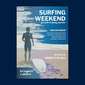 Szablon plakatu pionowego surfingu