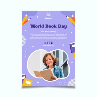Szablon plakatu pionowego światowego dnia książki