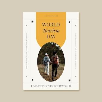 Szablon plakatu pionowego światowego dnia turystyki