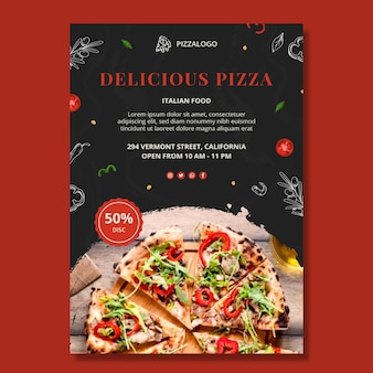 Szablon plakatu pionowego włoskiego jedzenia