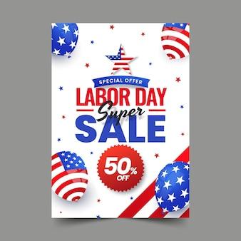 Szablon plakatu pionowej sprzedaży gradientu dnia pracy