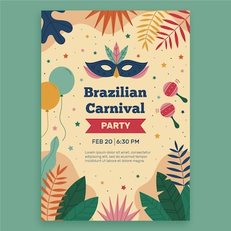 Szablon plakatu płaski brazylijski karnawał