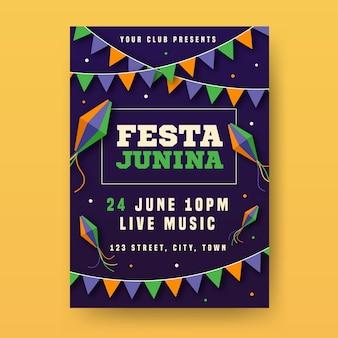 Szablon plakatu płaski festa junina