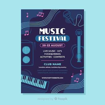 Szablon plakatu płaski festiwal muzyczny