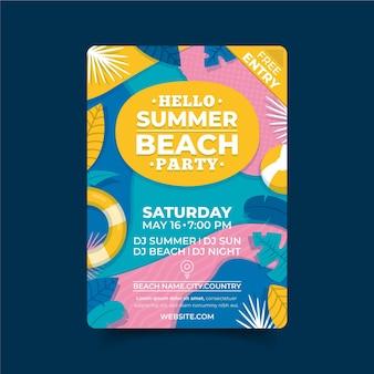 Szablon plakatu płaskie lato party