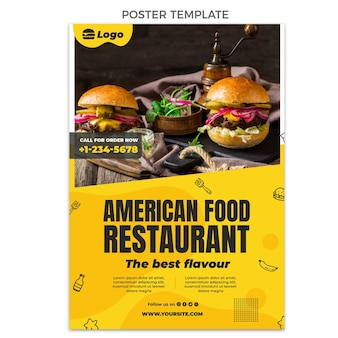 Szablon plakatu płaskiego amerykańskiego jedzenia
