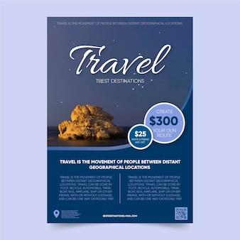 Szablon plakatu podróży z najlepszymi miejscami docelowymi