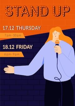 Szablon plakatu pokazu stand-up z młodą komediantką mówiącą bezpośrednio do ludzi przez mikrofon monologowanie humorystycznych historii, żartów i onelinerów wydarzenia publiczne