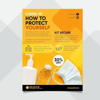 Szablon plakatu produktów medycznych koronawirusa ze zdjęciem