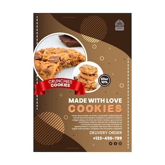 Szablon plakatu pyszne ciasteczka