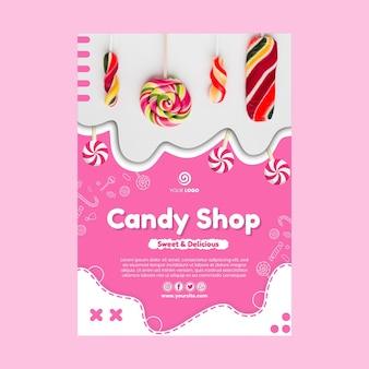 Szablon plakatu pysznego sklepu ze słodyczami
