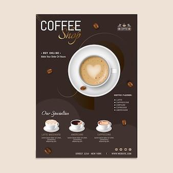Szablon plakatu pysznej kawiarni