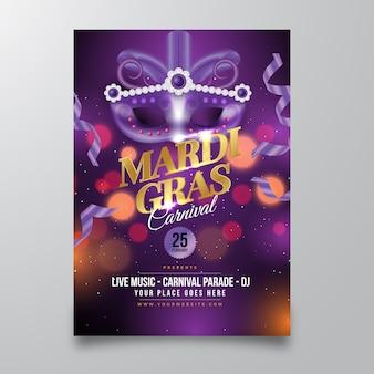 Szablon plakatu realistyczne mardi gras