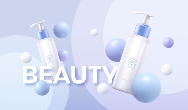 Szablon plakatu reklamowego kosmetyków biała tubka kremowa na tle geometrycznych kształtów kuli.
