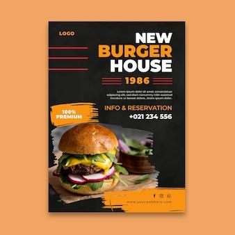 Szablon plakatu restauracji burgery