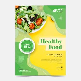 Szablon plakatu restauracji zdrowej żywności ze zdjęciem