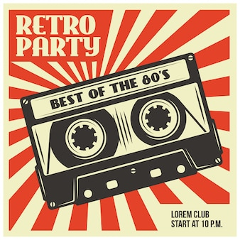 Szablon plakatu retro party z kasety audio