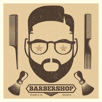 Szablon plakatu rocznika fryzjera. moda hipster wydruku