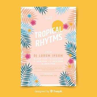 Szablon plakatu rocznika tropikalny festiwal muzyki