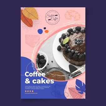 Szablon plakatu sklepu z kawą i ciastami