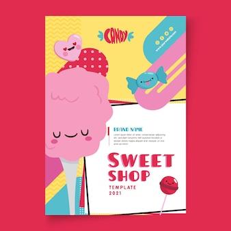 Szablon plakatu sklepu ze słodyczami