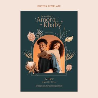 Szablon plakatu ślubnego akwarela boho
