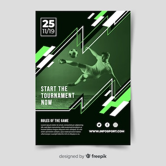 Szablon plakatu sportowego ze zdjęciem światłocienia