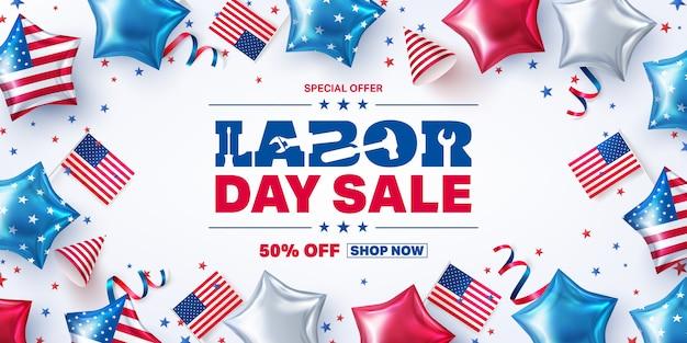 Szablon plakatu sprzedaży święta pracy w usa. obchody święta pracy w usa z elementami partii amerykańskiej i narzędziami do pracy.