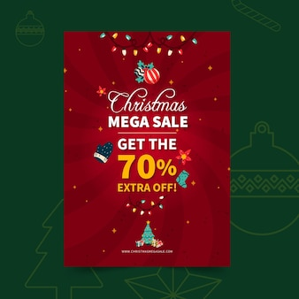 Szablon plakatu sprzedaży wesołych świąt