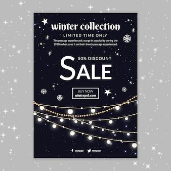 Szablon plakatu sprzedaży zimowej kolekcji