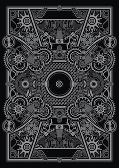 Szablon plakatu steampunk ma zastosowanie przy projektowaniu koszul