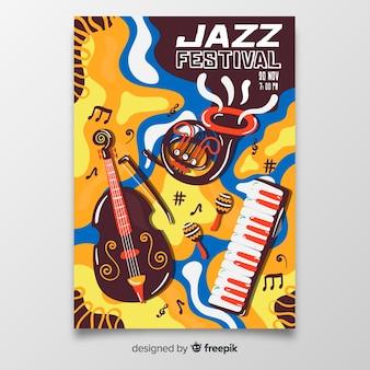 Szablon plakatu streszczenie muzyki jazzowej