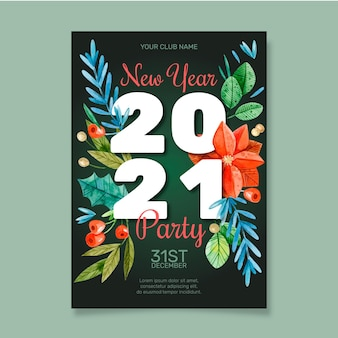 Szablon plakatu strony akwarela nowy rok 2021