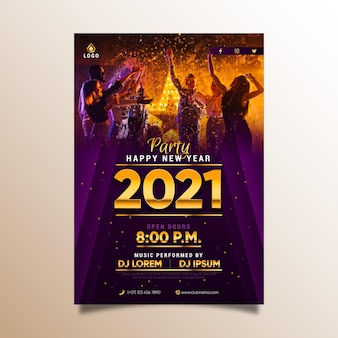Szablon plakatu strony nowego roku 2021