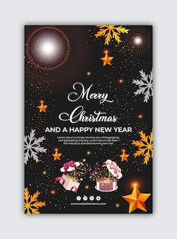 Szablon plakatu świątecznego i szczęśliwego nowego roku