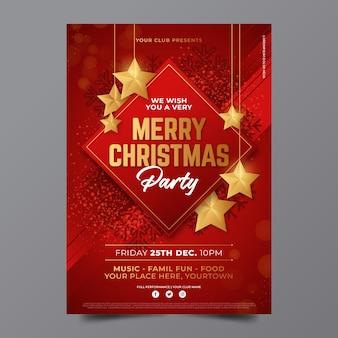 Szablon plakatu świątecznego w płaskiej konstrukcji