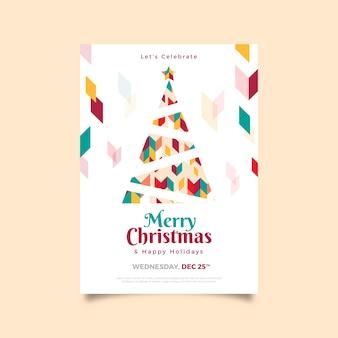 Szablon plakatu świątecznego z kolorowe kształty geometryczne