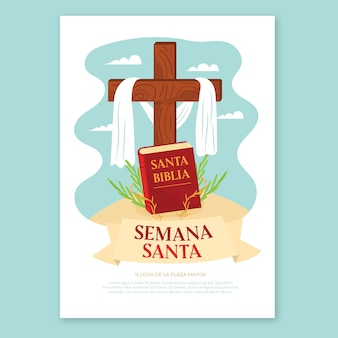 Szablon plakatu świętego tygodnia z krzyżem