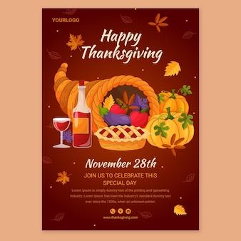 Szablon plakatu szczęśliwego dziękczynienia