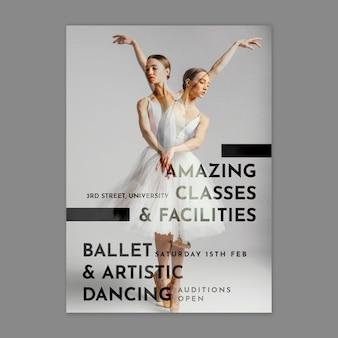 Szablon plakatu taniec baletowy