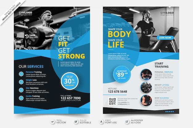 Szablon plakatu ulotki siłowni fitness ze zdjęciem