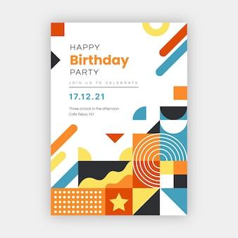 Szablon plakatu urodzinowego płaskiej mozaiki