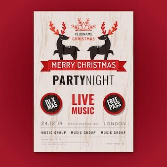 Szablon plakatu vintage christmas party