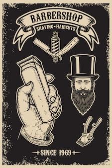 Szablon plakatu vintage fryzjer sklep. element plakatu, godła, znaku, koszulki. ilustracja
