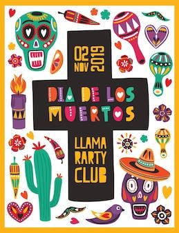 Szablon plakatu w jasnych kolorach, ozdobiony meksykańskimi czaszkami