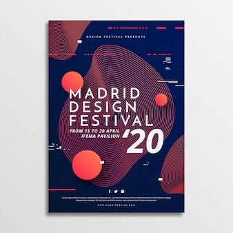 Szablon plakatu w stylu festiwalu