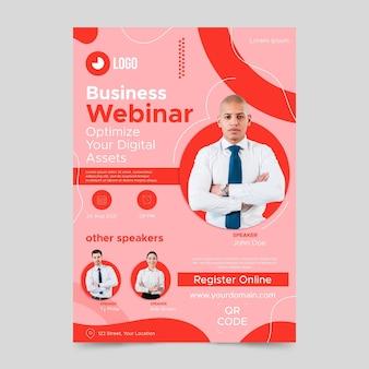 Szablon plakatu webinar płaski biznes