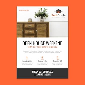 Szablon plakatu weekendowego otwartego domu