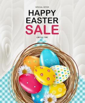 Szablon plakatu wielkanocnego z realistycznymi 3d jajkami w gnieździe.